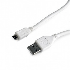 Kabel USB A-B micro, 0,5m, 2.0, bílý, high quality