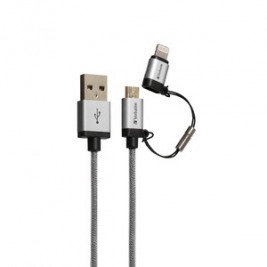 Micro USB + Lightning Cable - Sync & Charge 120cm Silver
