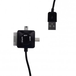 WE Datový kabel micro/mini USB/iPhone4 100cm černý